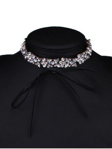Best Adjustable Rhinestone Bowknot Choker Necklace WHITE