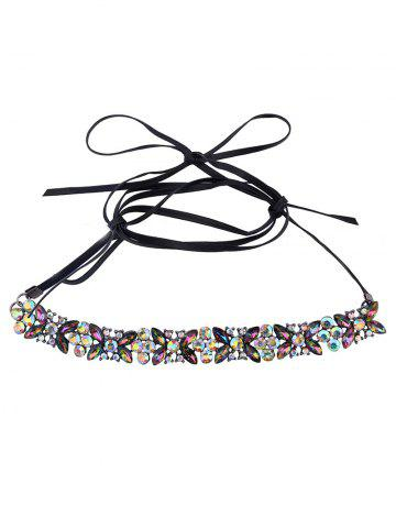 Fancy Adjustable Rhinestone Bowknot Choker Necklace - COLORFUL  Mobile
