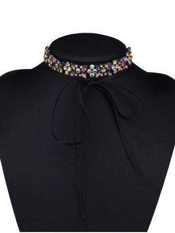 Cheap Adjustable Rhinestone Bowknot Choker Necklace COLORFUL