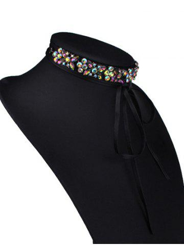 Outfits Adjustable Rhinestone Bowknot Choker Necklace - COLORFUL  Mobile