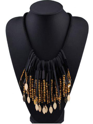 Affordable Beaded Alloy Leaf Tassel Fake Collar Necklace