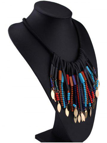 Store Beaded Alloy Leaf Tassel Fake Collar Necklace - COLORFUL  Mobile