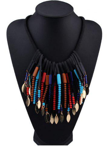 Fancy Beaded Alloy Leaf Tassel Fake Collar Necklace