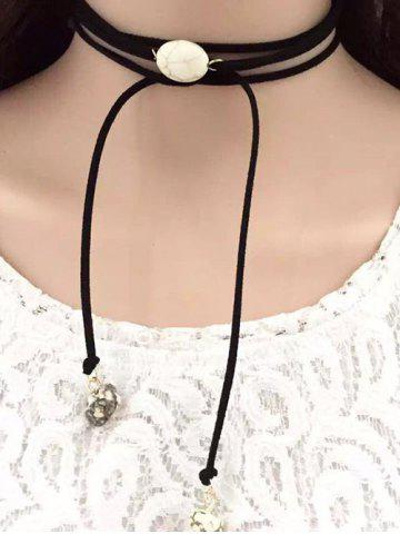 Store Layered Faux Turquoise Tie Choker Necklace BLACK