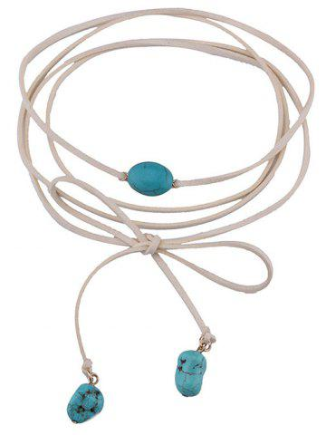 Discount Layered Faux Turquoise Tie Choker Necklace - WHITE  Mobile