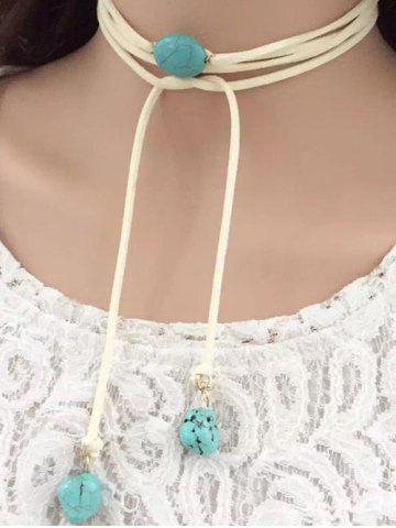 Hot Layered Faux Turquoise Tie Choker Necklace - WHITE  Mobile