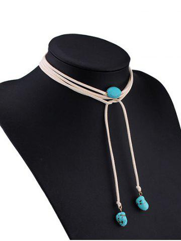 Chic Layered Faux Turquoise Tie Choker Necklace - WHITE  Mobile