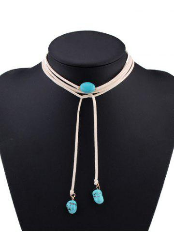 Shop Layered Faux Turquoise Tie Choker Necklace - WHITE  Mobile