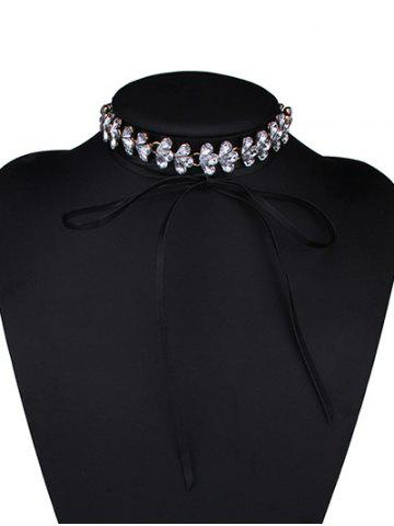 Hot Tiered Rhinestone Flower Choker Necklace - WHITE  Mobile