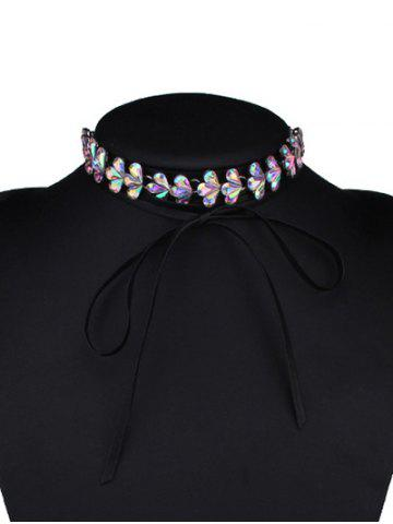 Chic Tiered Rhinestone Flower Choker Necklace COLORMIX