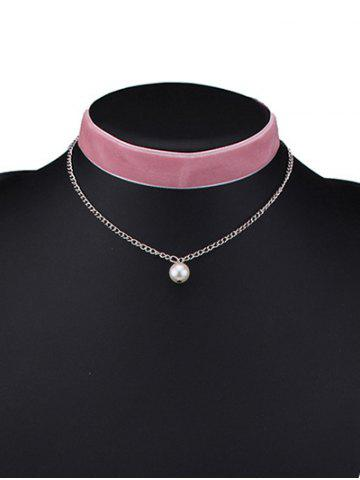 Buy Layered Faux Pearl Velvet Choker Necklace