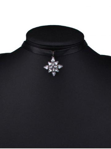 Latest Faux Leather Rhinestone Flower Choker Necklace - BLACK  Mobile
