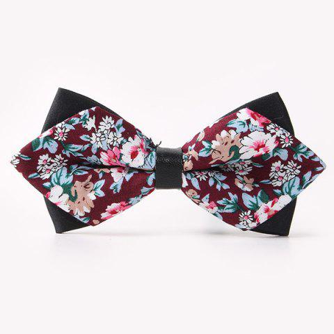 Banquet Flower Sharp-Angled Double-Deck Bow Tie - Wine Red - S