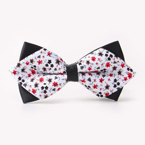 Trendy Banquet Tiny Flower Sharp-Angled Double-Deck Bow Tie