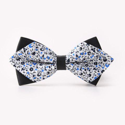 Cheap Banquet Tiny Flower Printed Sharp-Angled Double-Deck Bow Tie