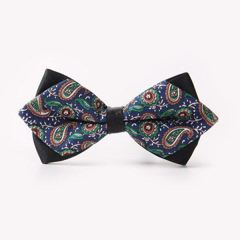 Banquet Paisley Printed Sharp-Angled Double-Deck Bow Tie - CADETBLUE