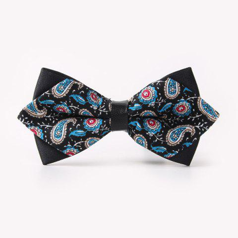 Online Banquet Paisley Printed Sharp-Angled Double-Deck Bow Tie - BLACK  Mobile