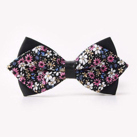 Discount Banquet Full Flowers Sharp-Angled Double-Deck Bow Tie - BLACK  Mobile