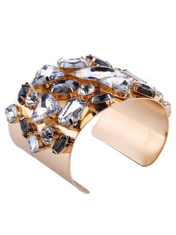 Cheap Curved Artificial Gem Cuff Bracelet - CHAMPAGNE  Mobile