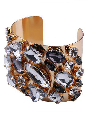Chic Curved Artificial Gem Cuff Bracelet - CHAMPAGNE  Mobile