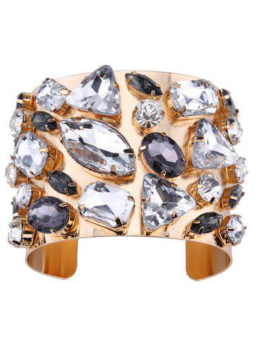 Sale Curved Artificial Gem Cuff Bracelet - CHAMPAGNE  Mobile