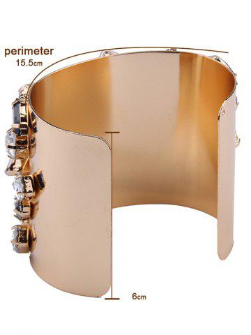 Affordable Curved Artificial Gem Cuff Bracelet - CHAMPAGNE  Mobile