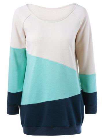 Fancy Raglan Sleeve Spliced Sweatshirt