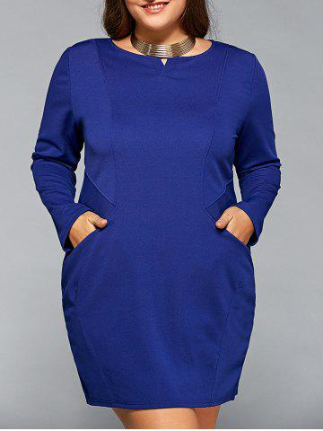 Chic Long Sleeve Plus Szie Dress with Pocket