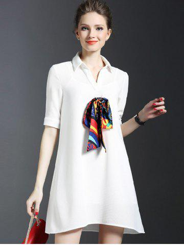 Trendy Scarf Design Shirt Dress With Cami Dress Set - S WHITE Mobile