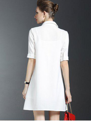 Online Scarf Design Shirt Dress With Cami Dress Set - S WHITE Mobile