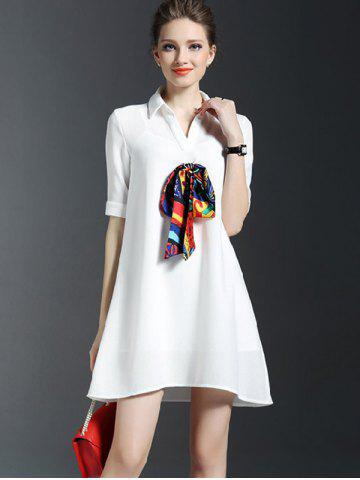 Buy Scarf Design Shirt Dress With Cami Dress Set - S WHITE Mobile