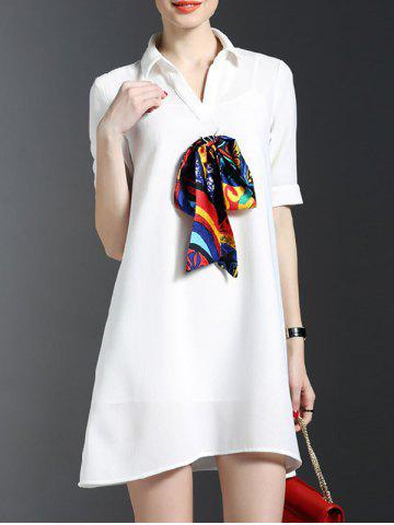 New Scarf Design Shirt Dress With Cami Dress Set - S WHITE Mobile