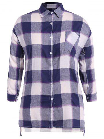 Cheap Asymmetrical Plaid Loose-Fitting Shirt