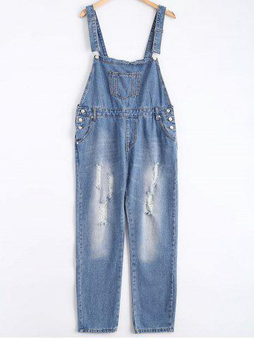 Shop Pocket Design Broken Hole Denim Overalls - XL BLUE Mobile