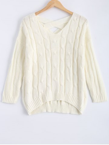Hot Cable-Knit Criss Cross Textured Sweater