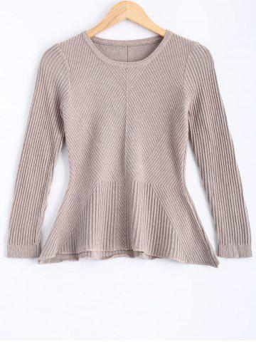 Latest Peplum Ribbed Slim Sweater