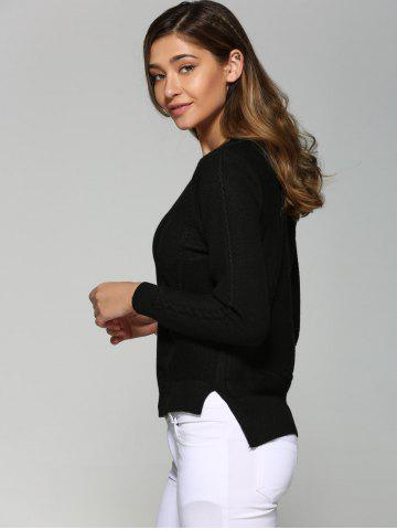 Sale Asymmetrical Side Slit Textured Sweater - ONE SIZE BLACK Mobile