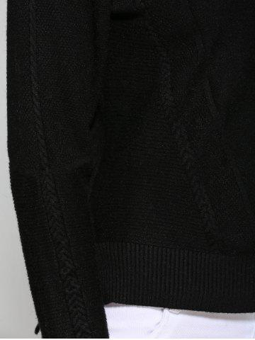 Discount Asymmetrical Side Slit Textured Sweater - ONE SIZE BLACK Mobile