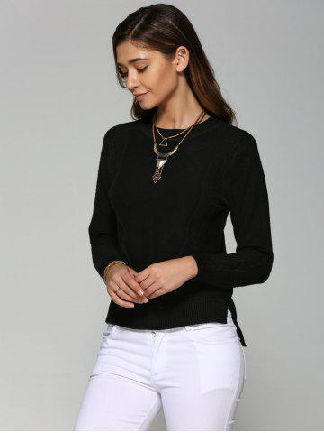 Buy Asymmetrical Side Slit Textured Sweater - ONE SIZE BLACK Mobile