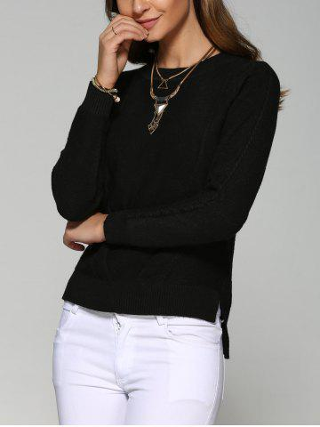 Store Asymmetrical Side Slit Textured Sweater BLACK ONE SIZE