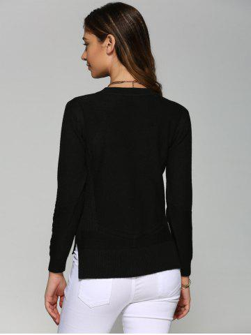 Online Asymmetrical Side Slit Textured Sweater - ONE SIZE BLACK Mobile