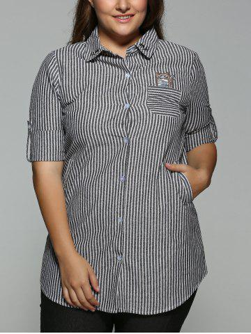 Outfit Plus Size Striped Kitten Embroidered Shirt BLACK 3XL