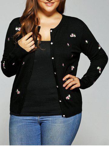 Floral Embroidered Cute Plus Size Cardigan - BLACK 2XL