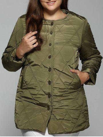 Outfit Plus Size Topstitched Pocket Design Coat