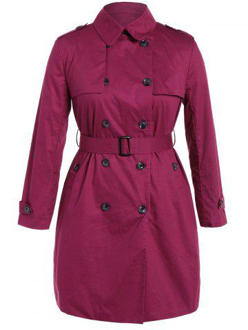 Plus Size Double-Breasted Tie-Waist Trench Coat - Rose Red - 2xl