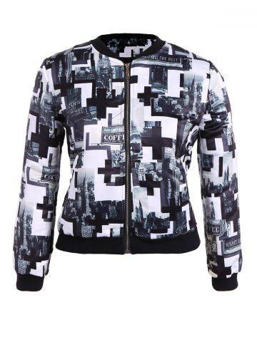 Trendy Plus Size Zippered City Print Jacket