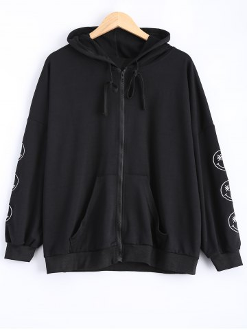 Store Plus Size Smile Embroidered Jacket with Hood - XL BLACK Mobile