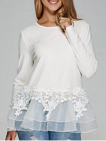 Hot Mesh Splicing Peplum Blouse