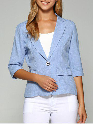 Lapel One Button Slimming Plain Blazer - Azure - M