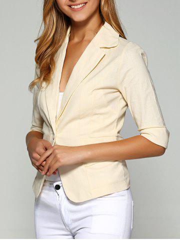 New 3/4 Sleeve One Button Breathable Plain Blazer - M APRICOT Mobile